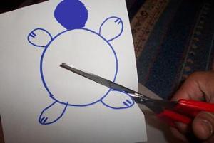 disegnare forma di una tartaruga su un foglio di carta