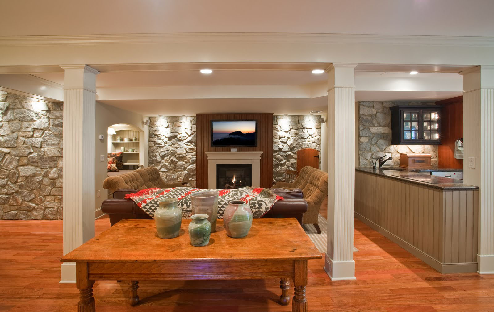 Basement Renovation With Rustic Stone Walls