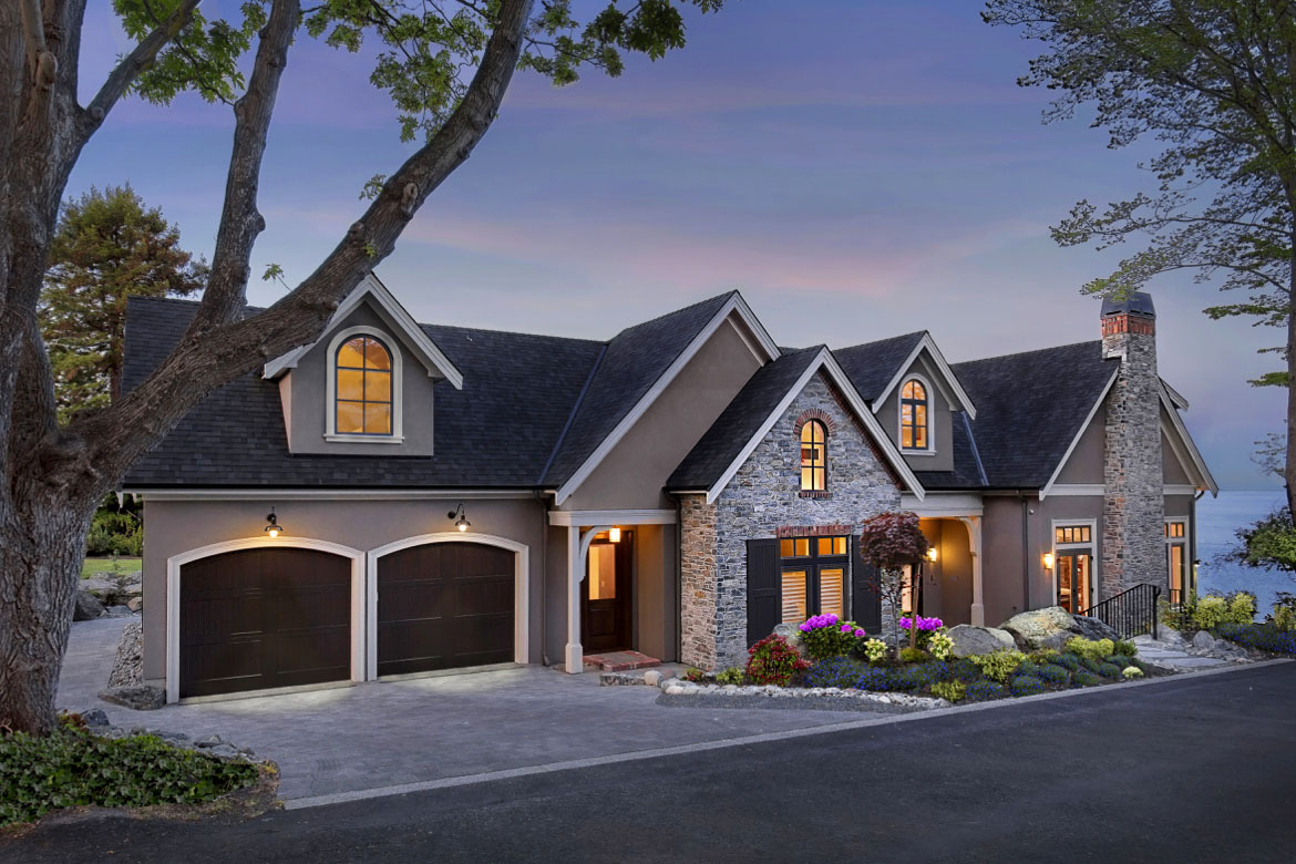 Classic French Country Style Waterfront Custom Home In
