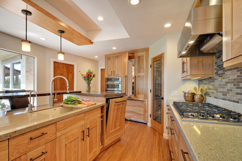 Contemporary Kitchen With Quartz Countertops And Red Birch