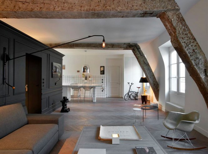 Small Renovated Attic Apartment In Paris With Functional Design