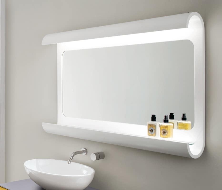 Bathroom Mirror In Bent Wood With Led Light Idfdesign