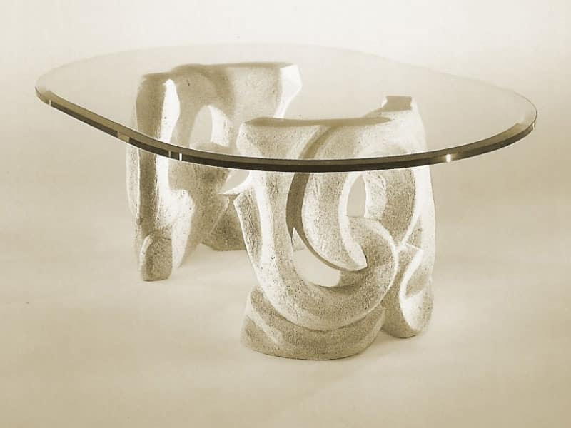 table with base in stone and top in