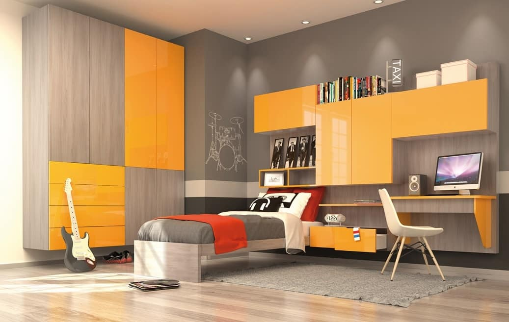 Modern Kid Bedroom With Wall Wardrobe Yellow And Elm