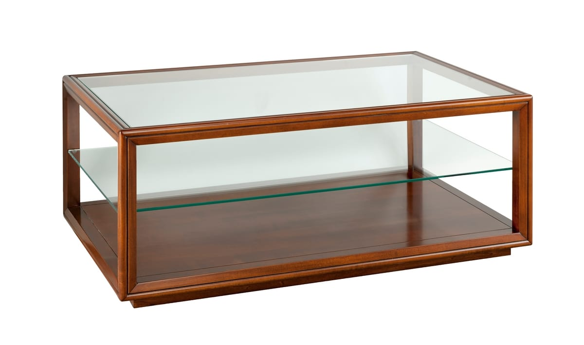classic coffee table with glass top