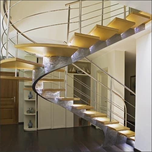 Steel Spiral Staircase With Lighted Treads Idfdesign   Lighted Handrails For Stairs   Wrought Iron Railing   Minimal   Antique   Basement   Stair Banister