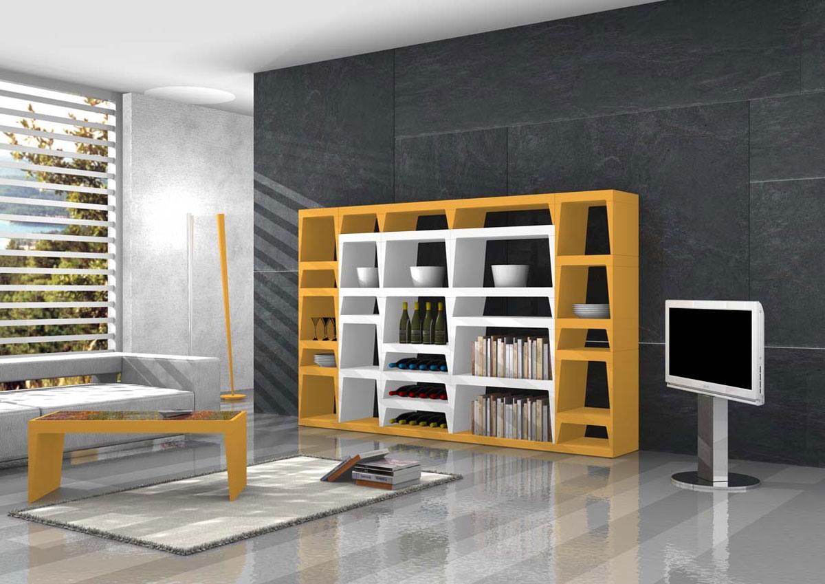 bibliotheque design en stratifie laque