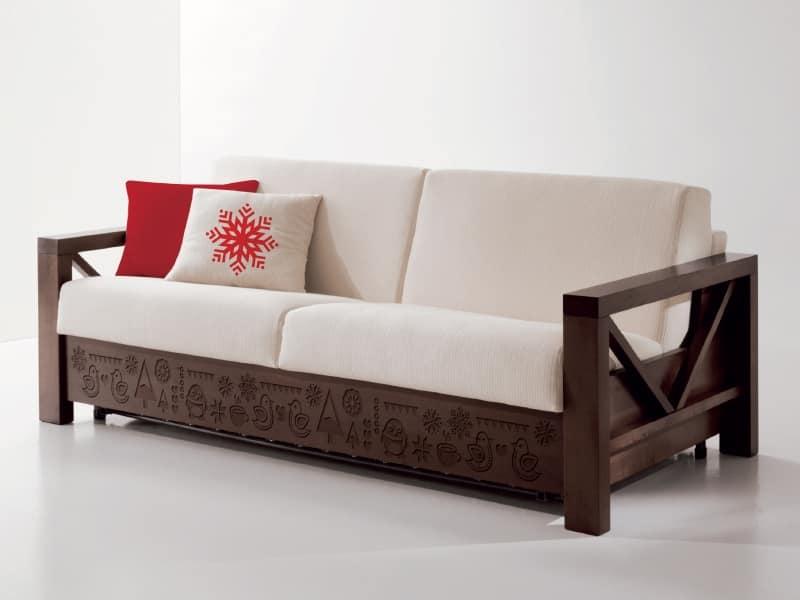 canape en bois avec sculptures