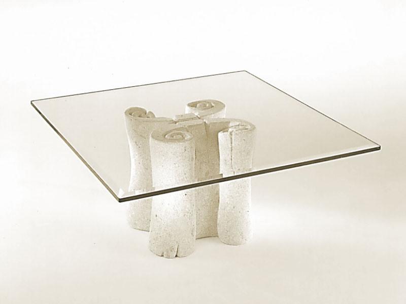 plateau carre en verre base en pierre