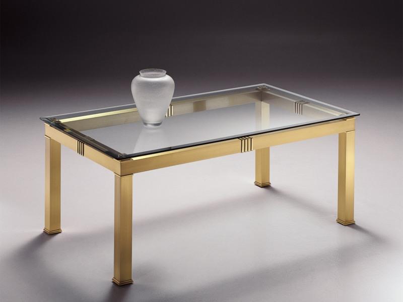 table basse rectangulaire en laiton