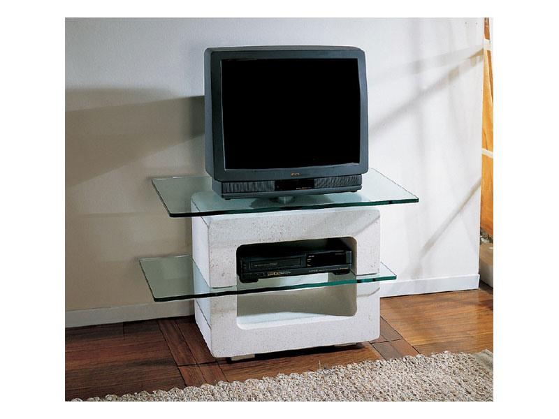 meuble tv avec structure en pierre et