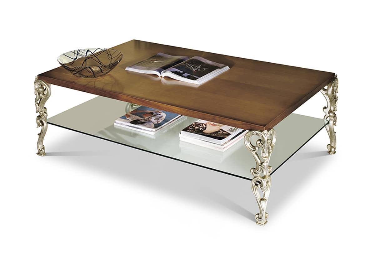 petite table rectangulaire sculptee et