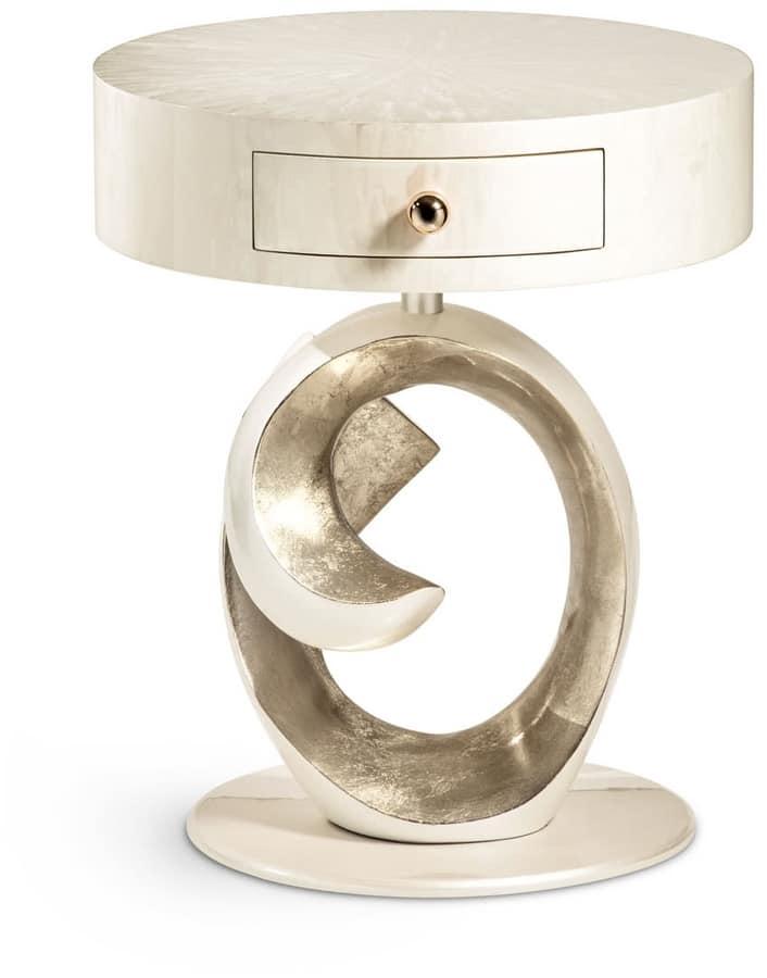 table de chevet ronde avec un design