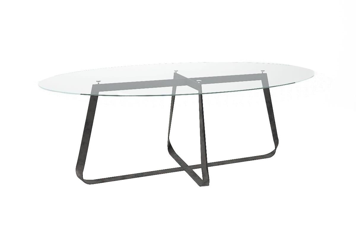 table avec verre ovale ou dessus en