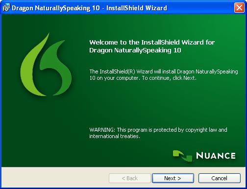 Installing Philips Dragon NaturallySpeaking DVR Edition