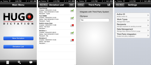 Hugo Dictation iPhone App Integrates With Olympus ODMS DSS Player Pro Transcription Module