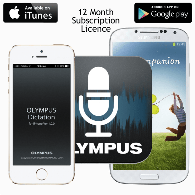 Olympus Dictation App - iTunes iPhone - Google Play Android - 12 Month Subscription Licence