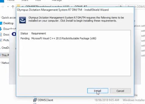 Olympus ODMS R7 Install DM TM Windows 10