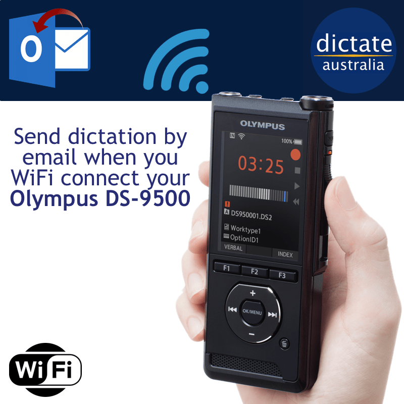 Olympus DS-9500 Dictate Australia Send Dictation by Email via WiFi