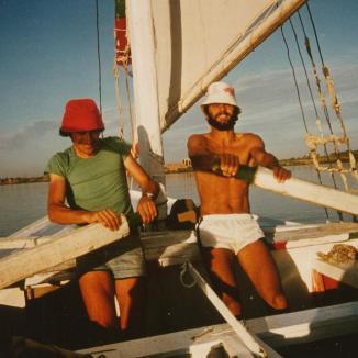 Bernard and Alain on the oars