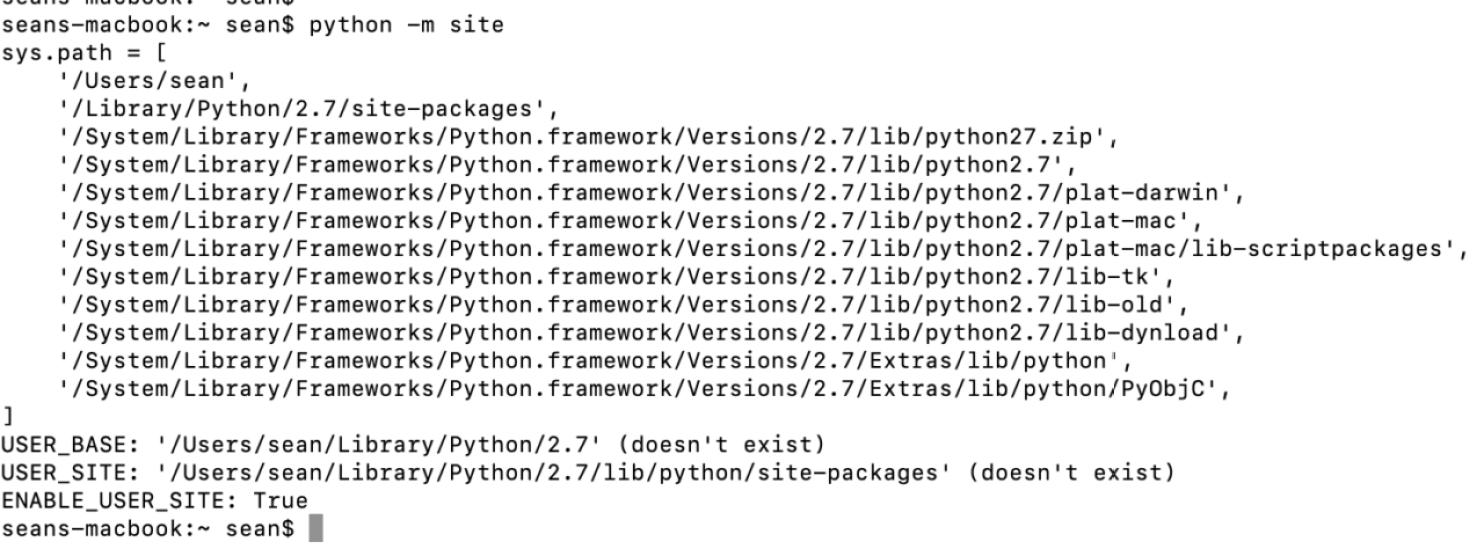 Screen Shot python -m site command