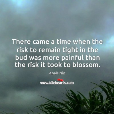 There came a time when the risk to remain tight in the bud was more painful than the risk it took to blossom. - IdleHearts