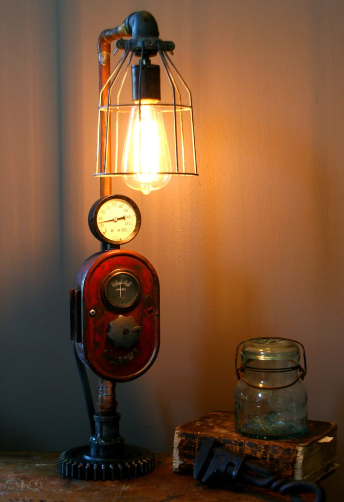 Modern Farmhouse Tractor Industrial Table Lamp ID Lights