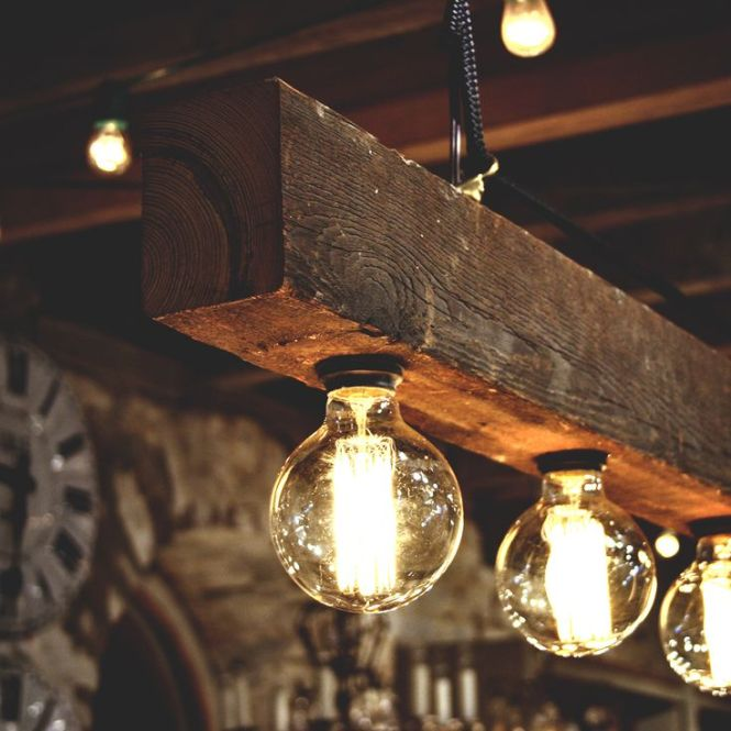 Reclaimed Wood Beams Best Diy Lamps Restaurant Bar Chandeliers