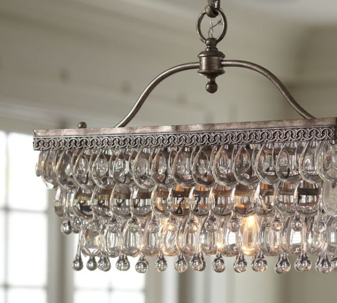 Clarissa Rectangular Glass Drop Chandelier Restaurant Bar Chandeliers