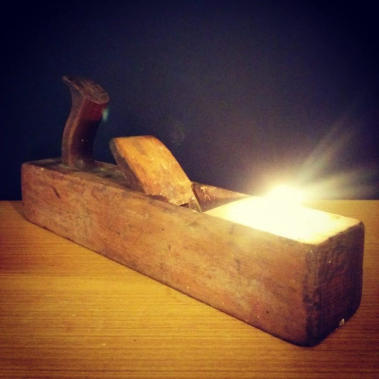 Rustic Vintage Lamp With Wooden Plane Tealight Holder ID Lights