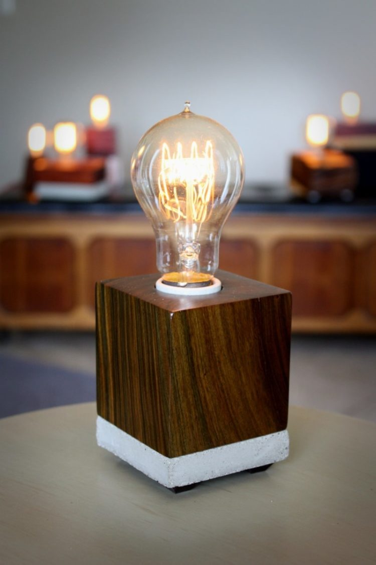 Wood And Concrete Desk Lamp Id Lights