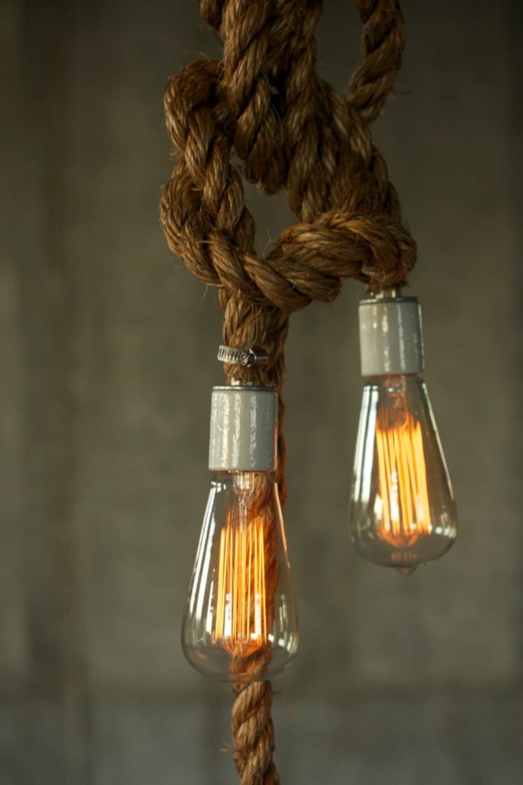 Rustic Industrial Chandelier With Rope Id Lights