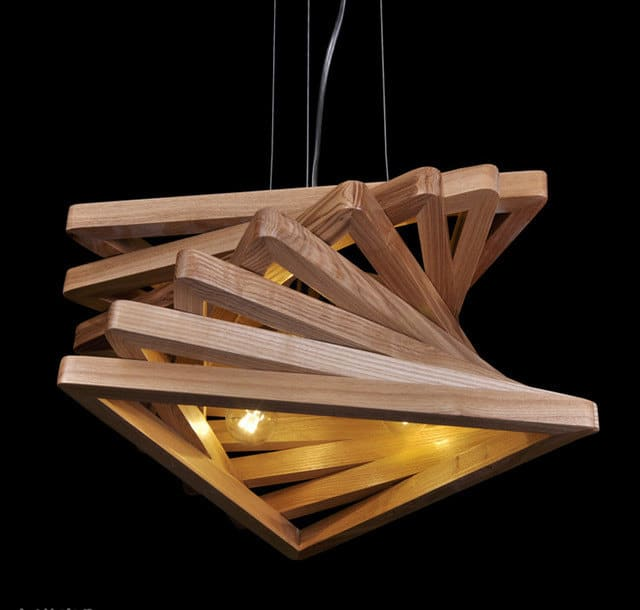 Triangle Tunnel Solid Wood Chandelier Pendant Lighting Lamps
