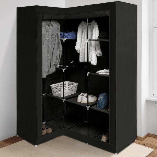 armoire de rangement d angle noire dressing penderie xxl tissu