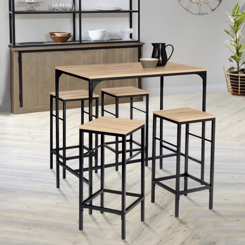 table haute detroit et 4 tabourets design industriel idmarket