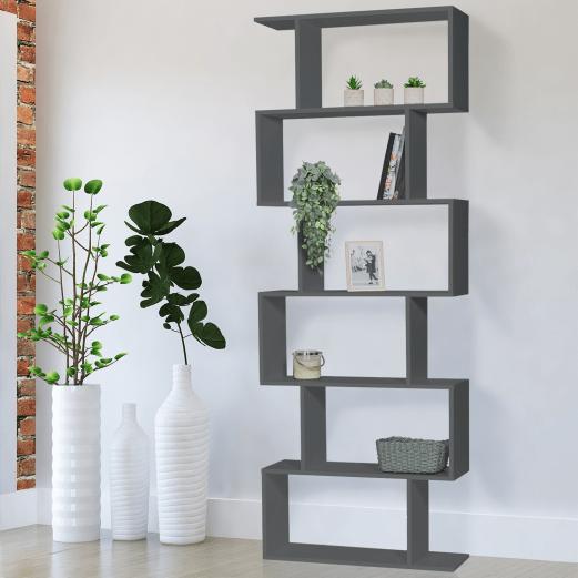 etagere bibliotheque sofia forme s bois gris 189 cm