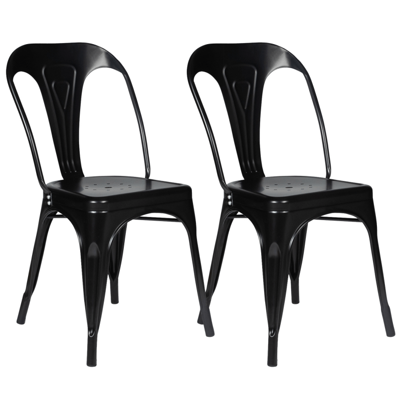 lot de 2 chaises leny metal noir mat empilable aspect brut factory