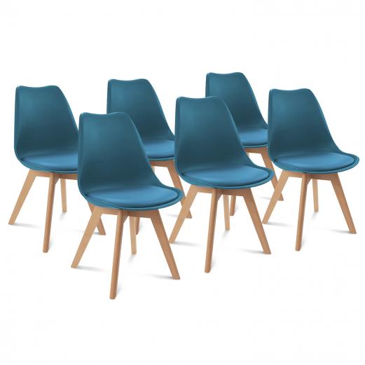 lot de 6 chaises sara bleu canard pour salle a manger