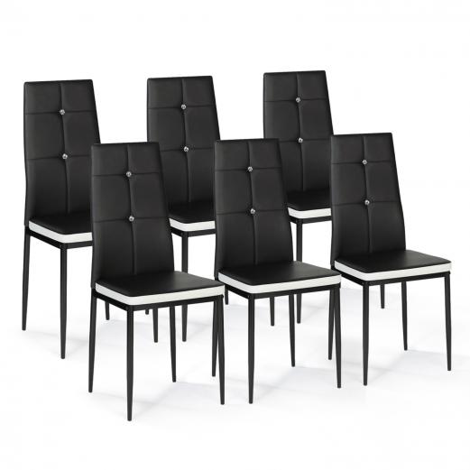 lot de 6 chaises romane noires bandeau blanc avec strass pour salle a manger