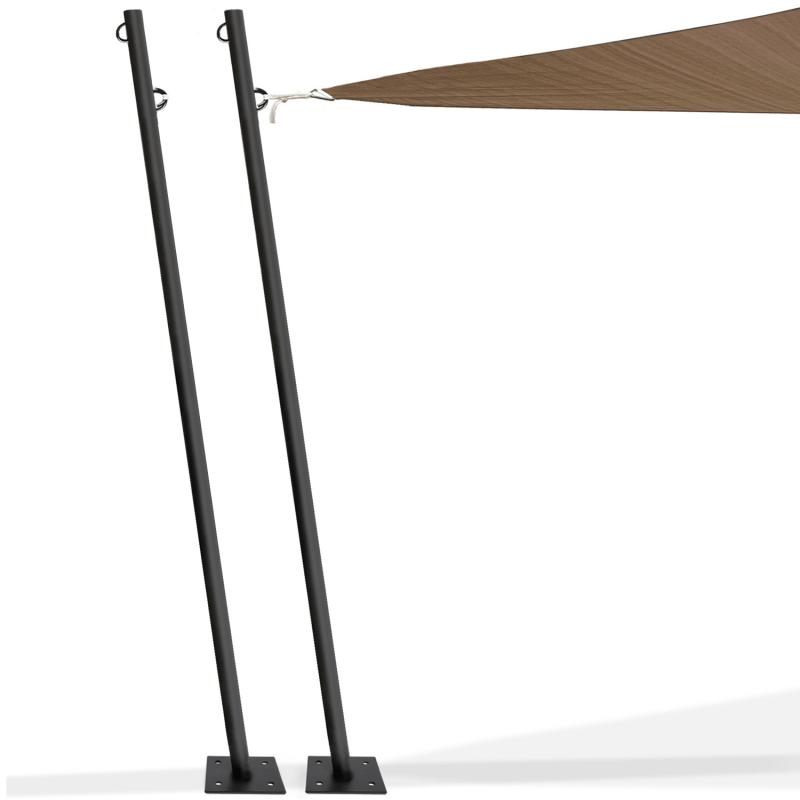 lot de 2 mats de fixation pour voile d ombrage h 220 cm poteaux et bases acier