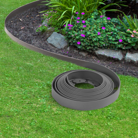 bordurette de jardin flexible gris anthracite 10m avec 30 piquets d ancrage