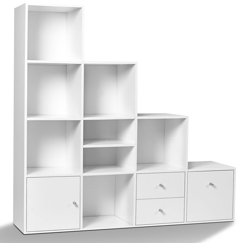 meuble de rangement en escalier liam 4 niveaux bois blanc avec port