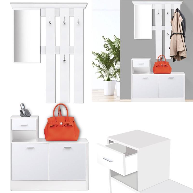 Vestiaire Dentre Avec Miroir Design Blanc Portes