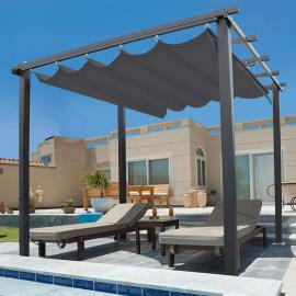 pergola toit retractable gris 3x3m tonnelle 4 pieds