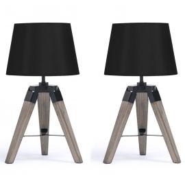 lot de 2 lampes de chevet trepied en bois fonce noires