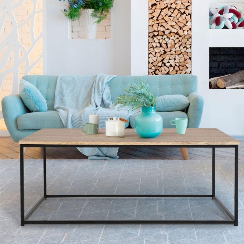 Table Basse DETROIT Design Industriel Bois Et Mtal Noir