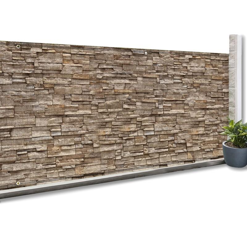 brise vue occultant 1 5 x 10m motif pierre 160 gr m idmarket