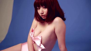 【池田愛恵里】Gカップ4 ラッピングと大きめリボンで胸元を隠して