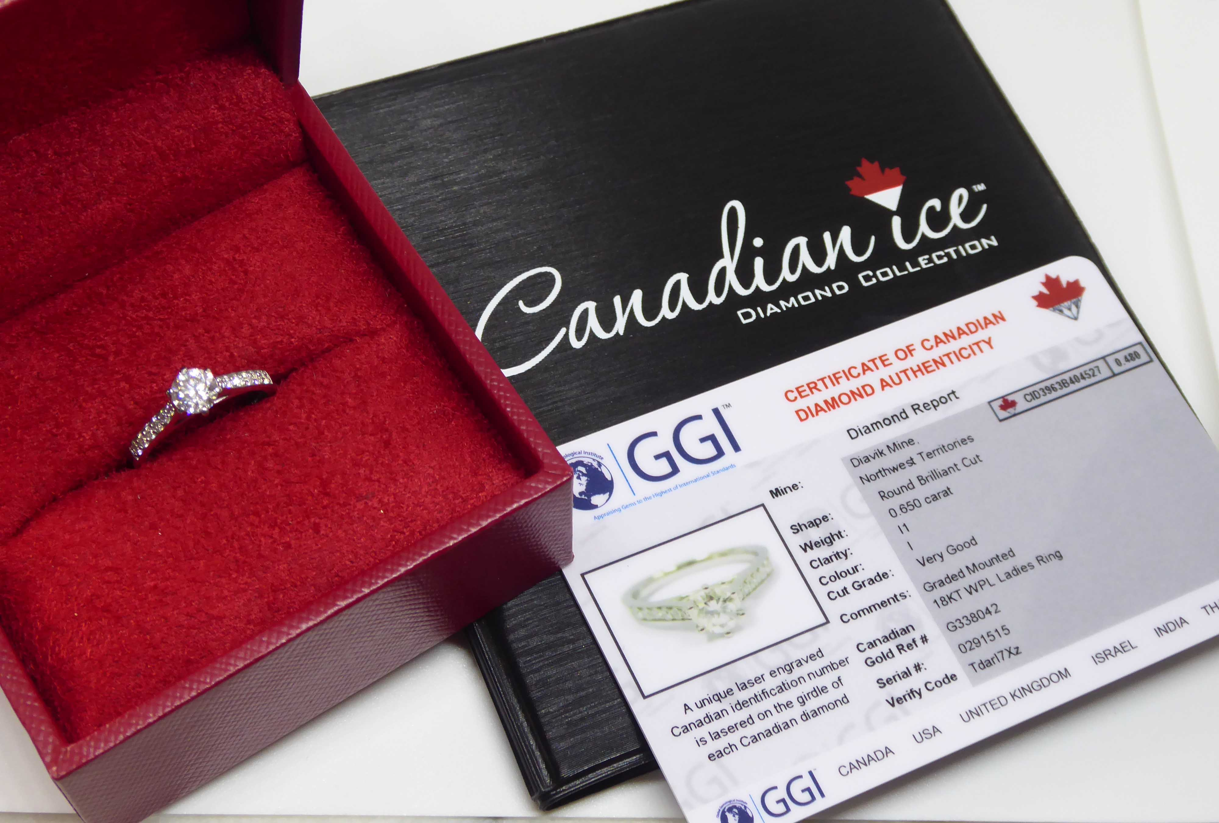 Ggi Certified Canadian Ice 0 65ct Diamond Solitaire Accent Engagement Ring 18k White Gold Goldsmiths