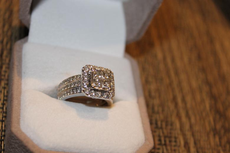 25 Carat Princess Cut Diamond Quad Engagement Ring